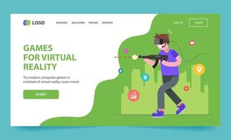 landing page for virtual reality glasses. the guy is playing a shooter. Flat character vector illustration.