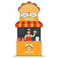 quiosco con vendedor de tacos en la calle. Ilustración de vector plano de comida rápida.