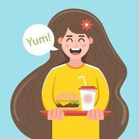 joven contenta sostiene una bandeja con comida rápida. Ilustración de vector de personaje plano.
