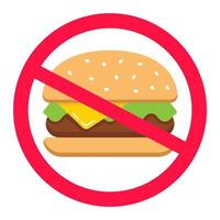 hamburger in a crossed out circle. junk food. fast food ban. flat vector illustration.