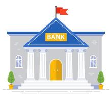 White bank building with columns and flag on the roof isolated. flat vector illustration