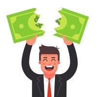 un hombre con traje rompe un billete de un dólar. crisis financiera. Ilustración de vector de personaje plano.