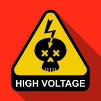 triangular sign with a skull and lightning. Caution High Voltage. flat vector illustration.