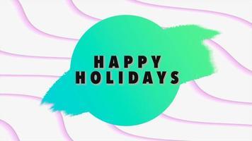 Animación texto de introducción felices fiestas sobre fondo blanco de moda y minimalismo con líneas geométricas