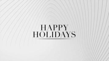 Animación texto de introducción felices fiestas sobre fondo blanco de moda y minimalismo con ondas geométricas