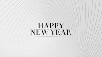 Texte d'introduction d'animation bonne année sur fond de mode et de minimalisme blanc avec des lignes géométriques video