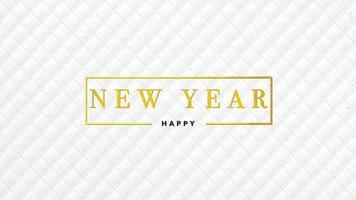 animatie intro tekst gelukkig nieuwjaar op witte mode en minimalisme achtergrond met geometrische lijnen