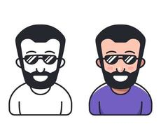 a man with a beard and in sunglasses. Flat character vector illustration.