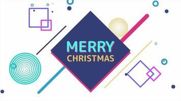 animación texto feliz navidad y movimiento formas geométricas abstractas, fondo de memphis video