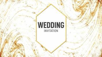 movimento abstrato respingos de ouro e texto convite de casamento, fundo colorido do grunge