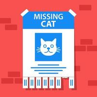 missing sign for a beloved cat. the runaway animal is in danger. flat vector illustration.