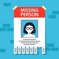 missing person announcement. flyer hanging on a brick wall. flat vector illustration.