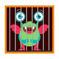 Cute monster is trapped. flat vector illustration isolated on white background.