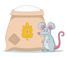 una gran bolsa de harina en el granero. los roedores estropean la comida. vector