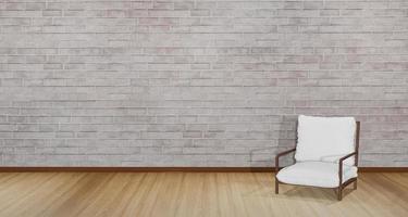 Ilustración 3d de una silla moderna colocada en el lateral de la habitación foto