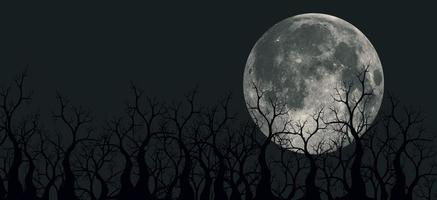 Spooky 3D illustration of panoramic mountains, trees and moon