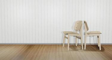 3D illustration of two back-facing chairs collide