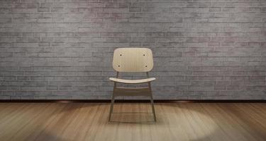 Silla moderna 3d colocada en el medio de la habitación con luz que brilla desde arriba foto