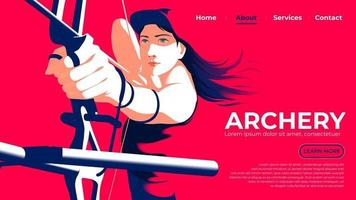 Vector illustration for UI or a landing page of the female archer pulling the bow and ready to shoot with determination in eyes.
