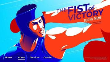 Vector illustration for UI or a landing page of the amateur boxer in blue is punching his opponent