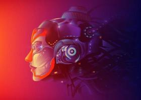 A futuristic vector illustration of a powerful female artificial intelligence technology