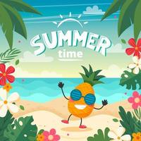 Summer time card with pineapple character, beach landscape, lettering and floral frame. Vector illustration in flat style