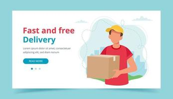 Delivery man holding a parcel box. Landing page or banner template. Delivery service, fast and free shipping. Vector illustration in flat style