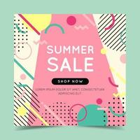 Summer sale banner with trendy abstract geometric shapes. Vector illustration in flat style