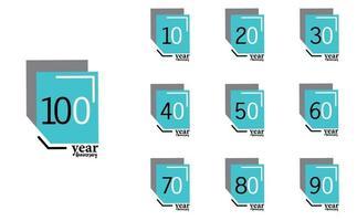 año aniversario vector plantilla diseño ilustración caja azul elegante fondo blanco