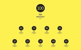 celebración de aniversario sobre fondo amarillo. vector ilustración festiva. Decoración de eventos de cumpleaños o bodas.