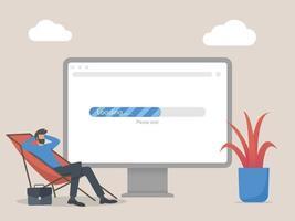 Man waiting web loading concept illustration vector