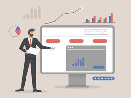 Businessman showing business stats concept illustration vector