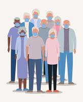 Group of senior citizens with face masks vector