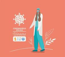 Female doctor avatar with medical mask and uniform vector design