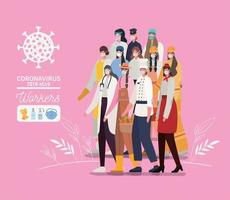 Female essencial workers with face masks vector