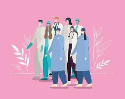 Essencial workers with face masks vector