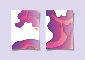 Purple waves background set vector