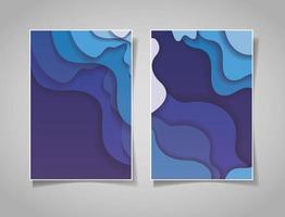 Blue waves background set vector