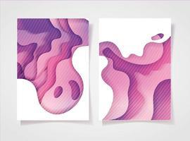 Pink waves background set vector