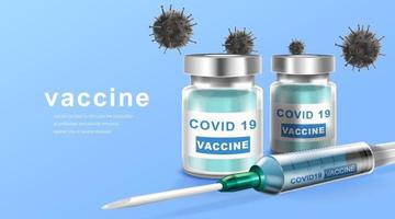 Coronavirus vaccine. Immunization treatment. Vaccine bottle and syringe injection tool for covid19. Vector illustration.