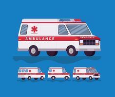 Ambulance and paramedic car side view set vector design