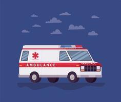 ambulancia, paramédico, coche, vista lateral, y, nubes, vector, diseño vector