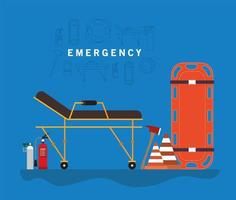 pancarta de emergencia con camilla de ambulancia, cilindros de oxígeno y conos vector