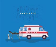 Banner de ambulancia con ambulancia y camilla. vector
