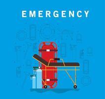 Banner de emergencia con camilla de ambulancia y cilindros de oxígeno. vector