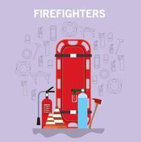 Banner de bombero con camilla de ambulancia, cilindros de oxígeno y extintor de incendios. vector