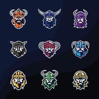 diseño de logotipo de viking bundle vector