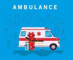 Banner de ambulancia con camilla de ambulancia, cilindros de oxígeno y automóvil. vector