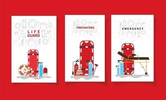 conjunto de banners de emergencia médica vector