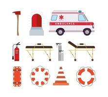 conjunto de iconos de emergencia médica vector